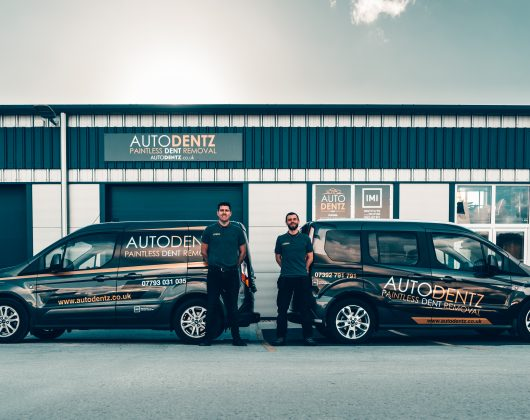 Jason and Paul outside AutoDentz Plymouth workshop